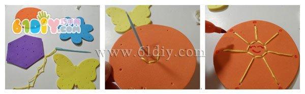 海绵纸小手工:针线花朵