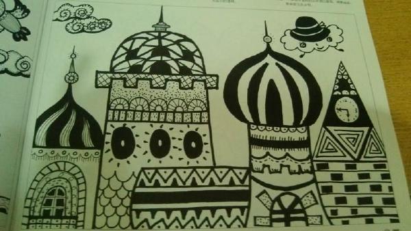 儿童黑白画; 幼儿作品线描画