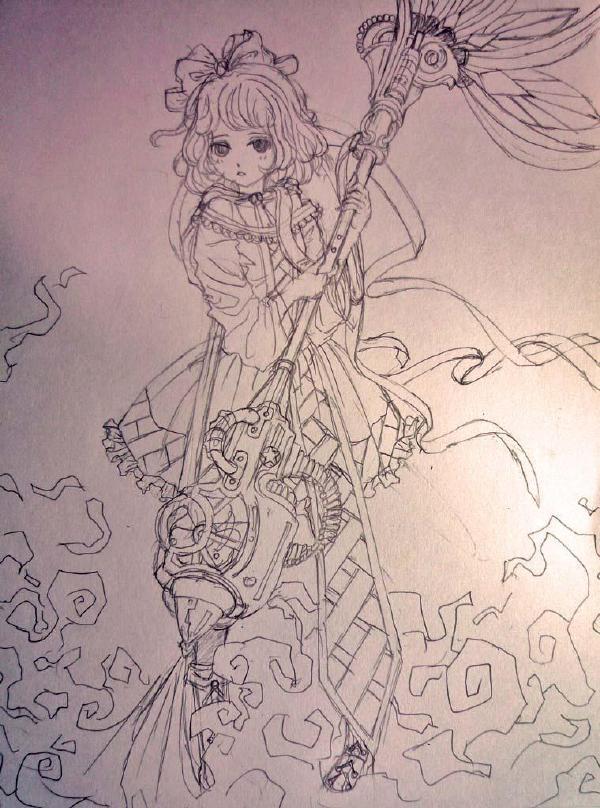 成熟魔女简笔画