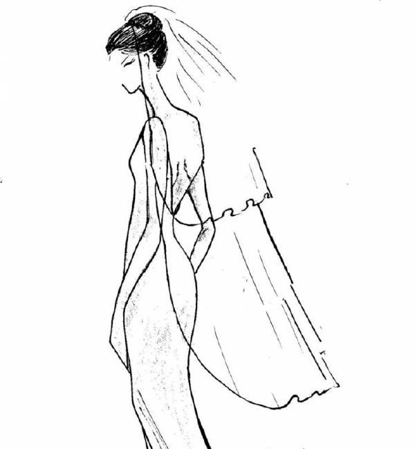 头纱设计图手绘