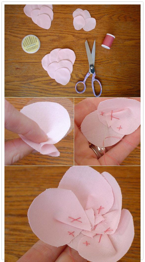 手工制作粉粉的布艺绢花图片