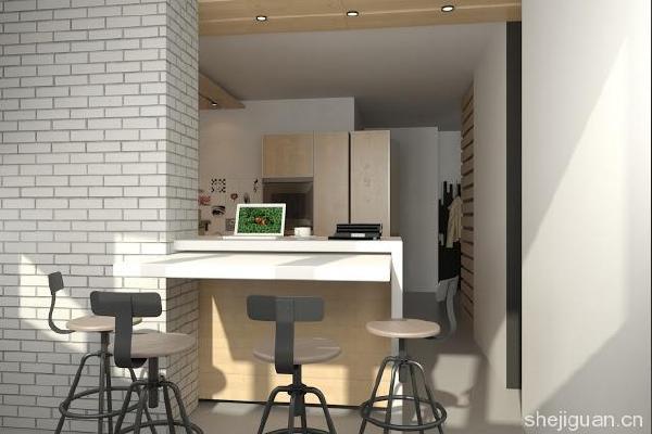 小面积单间loft公寓设计图片10:吧台空间在现代家居