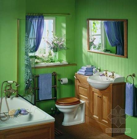 轻松的浅绿色,配上鲜艳的紫色,打造出别样的浴室 浅谈房屋装修注意