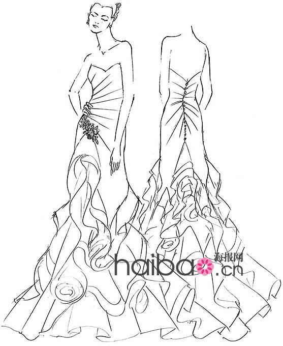 婚纱礼服设计图铅笔展示