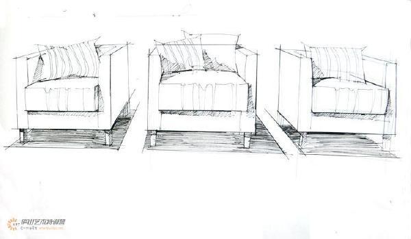 欧式沙发手绘线稿