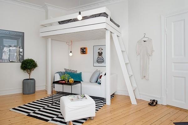 卧室藏在客厅里 瑞典46平米单身公寓