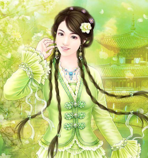 绿衣古装美女关键词 绿衣 cosplay古装美女高清图片