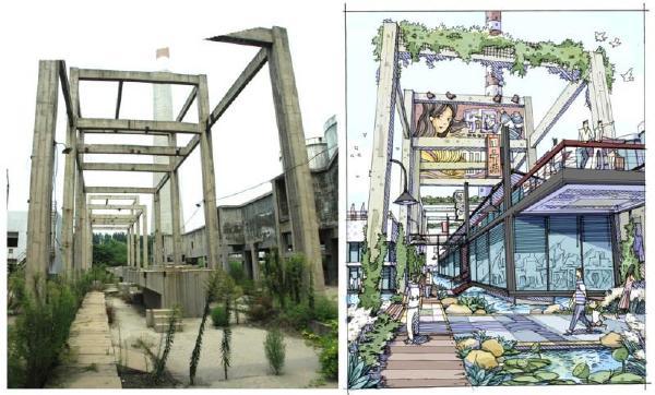 工业园区改造手绘效果图