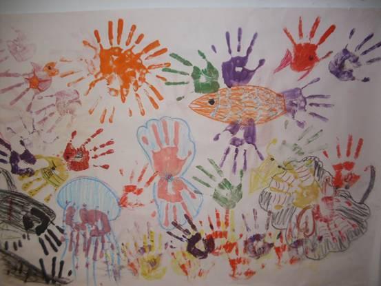 """《儿童创造力 kid do it》 手印创意画""""海底世界"""" 主题(海洋世界)图片图片"""