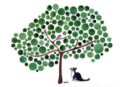 插画素材:会开花的幸福树