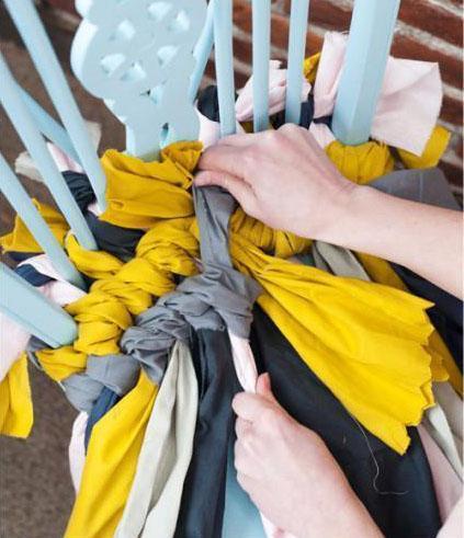 手工旧毛线旧衣物编织坐垫废物利用diy图解
