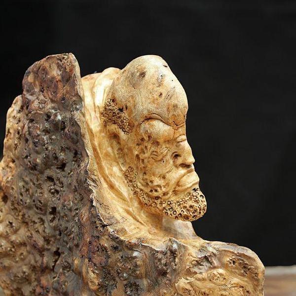 实木根雕木雕 人物雕像 缅甸黄金樟树廇 佛像达摩ywd488