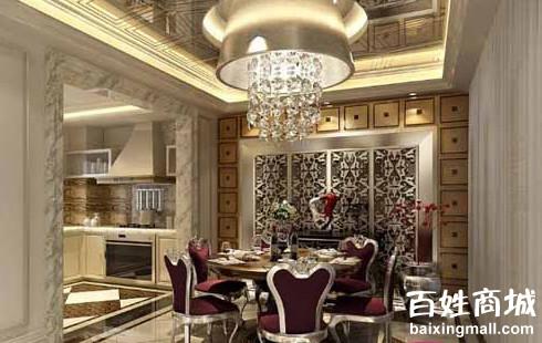 墙面的设计,这个欧式风格餐厅装修效果图既表现出