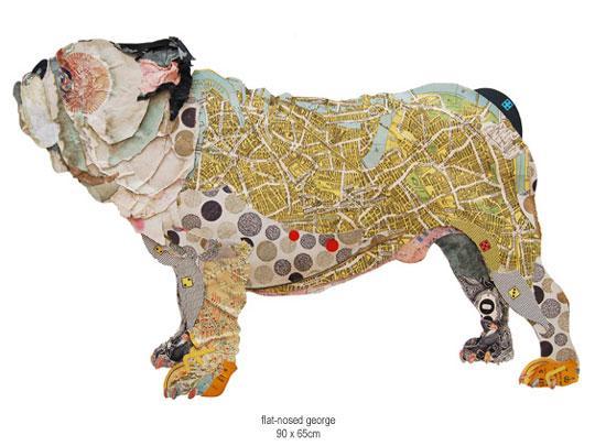 用地图拼贴小动物diy作品欣赏