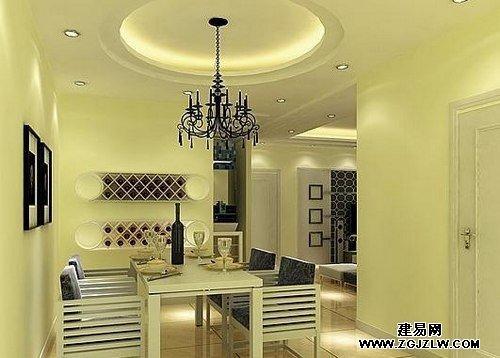 饭厅吊顶装修效果图:简欧气质圆弧形吊顶设计