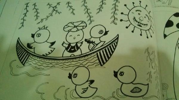 《一朵金色小宝宝》 幼儿园线描画  http://user.qzone.qq.