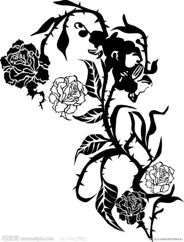 黑白玫瑰简笔画