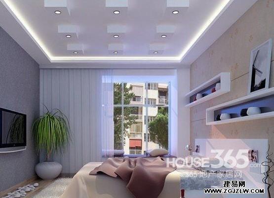 主卧室吊顶装修效果图 :几何立体的吊顶设计,简约装修也这么美