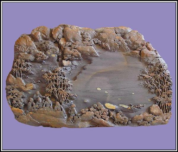 木雕水浪底座图片