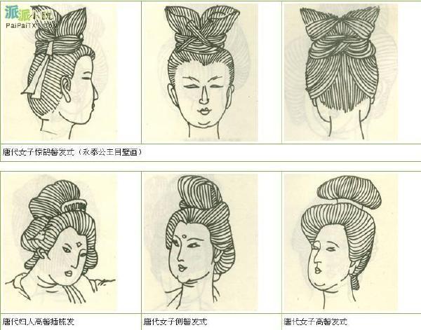 古代女发型黑白图手绘