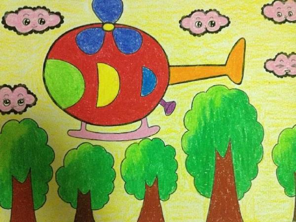彩色的黑白儿童线描画-油画棒绘画范画