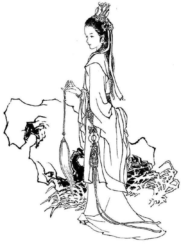 手绘古代红尘女子